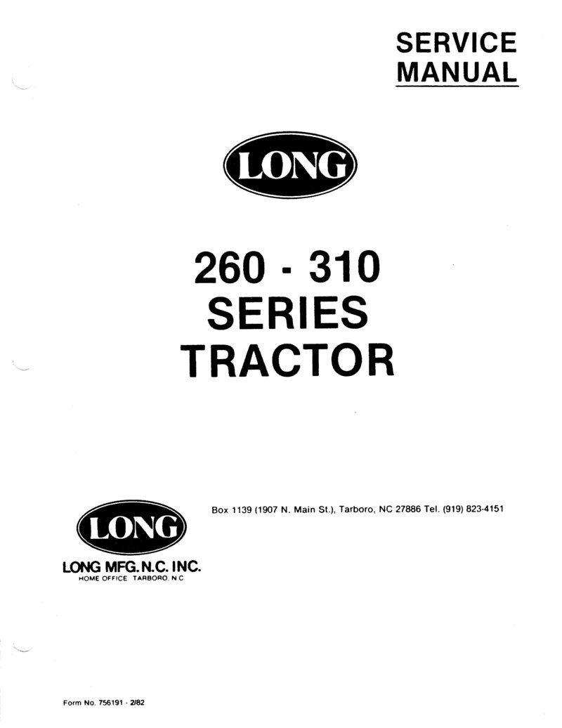 Service Manual Long 260 310 Series Tractor